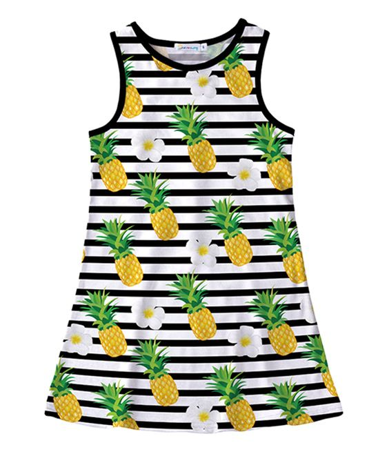e6868e5f2 Sunshine Swing White & Green Stripe Pineapple Tank Dress - Toddler & Girls