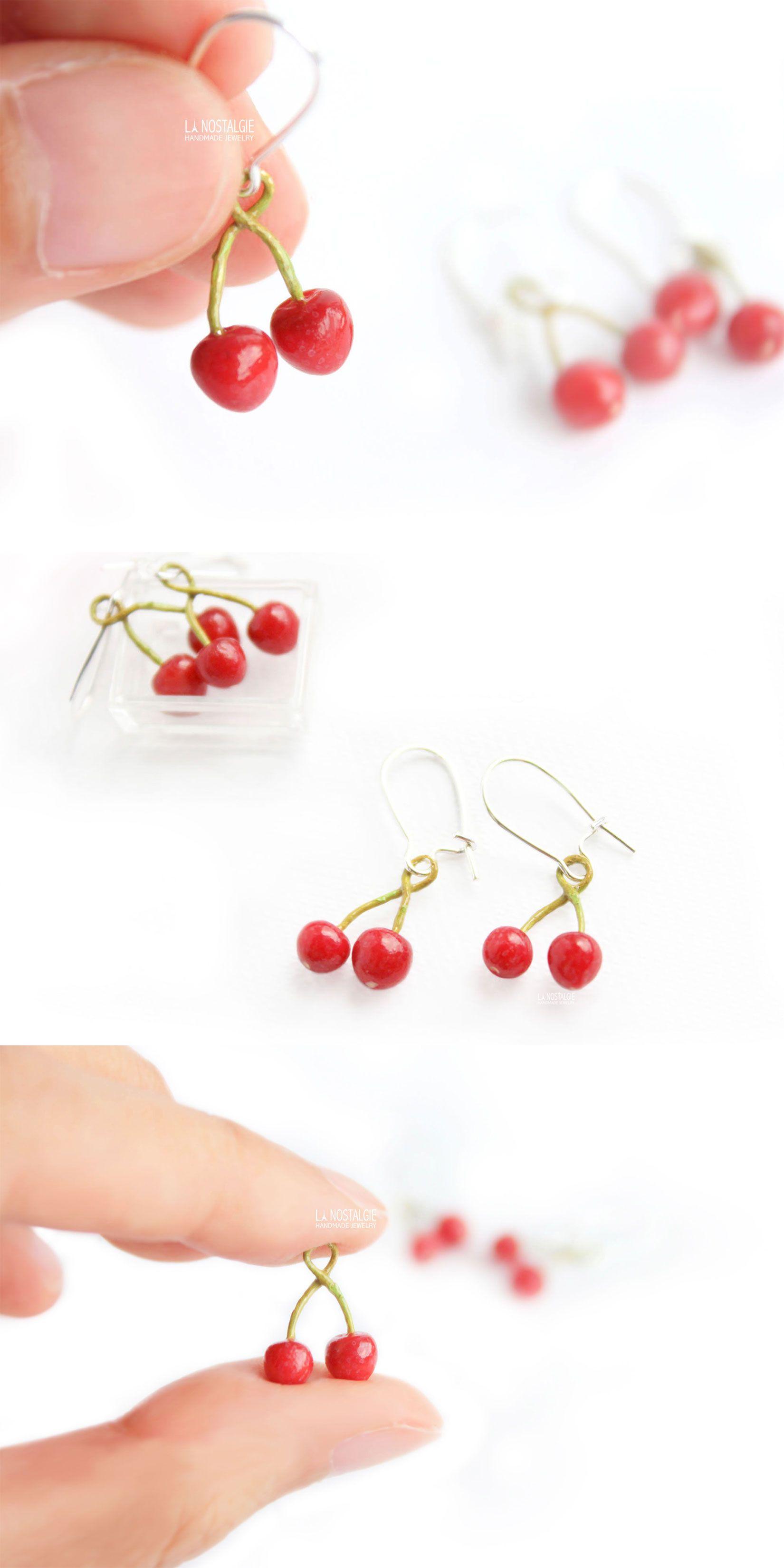 Cherry earrings Cherry brooch Fruit set Fruit brooch Polymer clay fruit earrings Red cherry Fruit earrings Cherry jewelry Mother/'s Day Gift