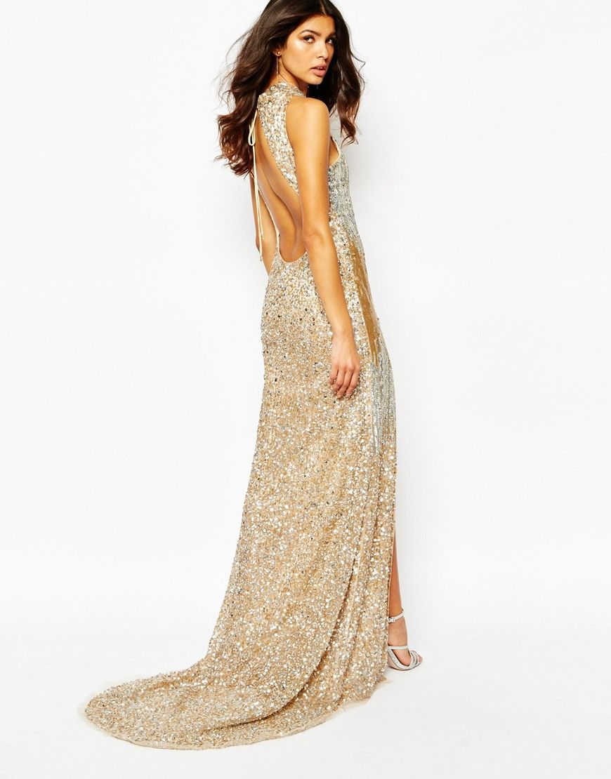A Star Is Born Luxe Allover Jewel Embellished Maxi Dress With Red Carpet Train
