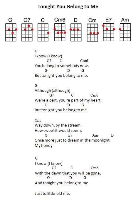 Tonight You Belong To Me Lyrics And Uke Cord Chart Cool As A Uke