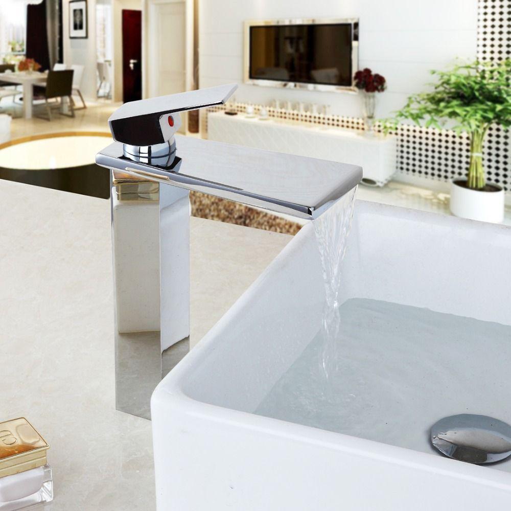 Chrome Brass Tap Polish Ceramic Valve Stream Waterfall Spout ...