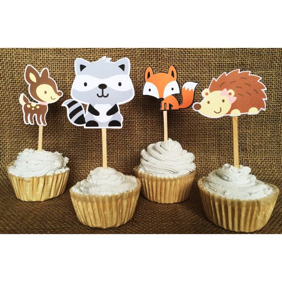 Great Woodland Creature Cupcake Toppers, Woodland Party Decor, Woodland Baby  Shower Decoration, Woodland Birthday, Woodland Baby Shower