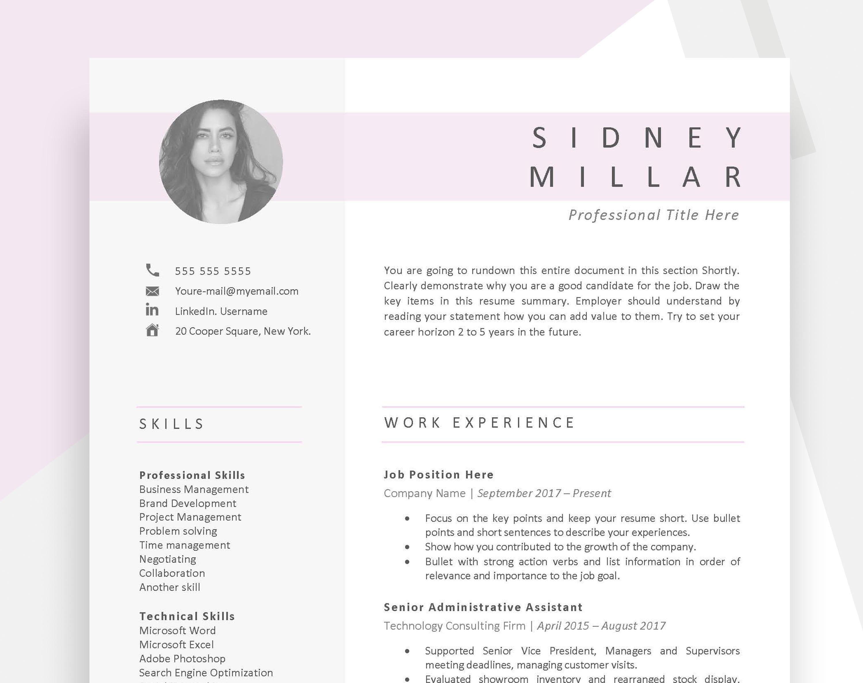 Sorority Resume Template Modern Resume With Photo Minimalist Etsy In 2020 Sorority Resume Resume Template Resume Words