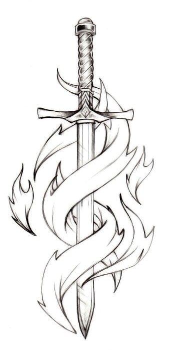 Dagger Tattoo Outline: Pretty Neat Sword Tattoo Idea, Perhaps This Sword Taken