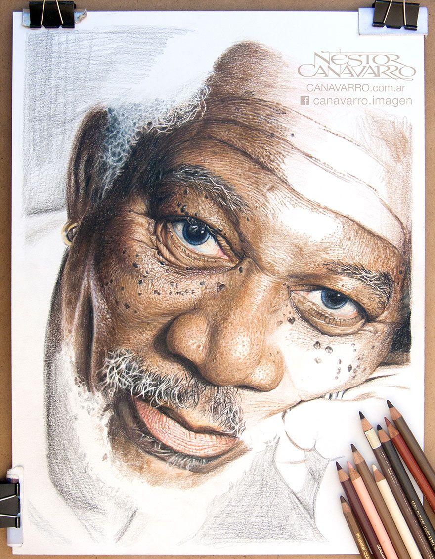 My 50 hour high detail drawing of morgan freeman in color pencils bored panda
