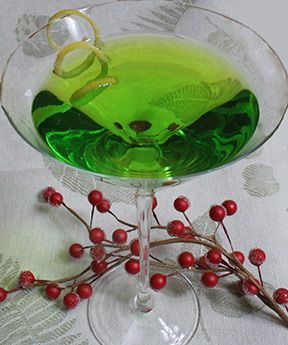 Merry Martini Recipe   3/4 ounce melon liqueur 2 ounces citrus vodka white cranberry juice - splash Add ingredients and ice to cocktail shaker, shake well, strain and serve