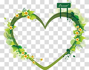 Green And White Floral Heart Border Euclidean Heart Green Heart Shaped Summer Plant Border Transparent Background Png Clipart