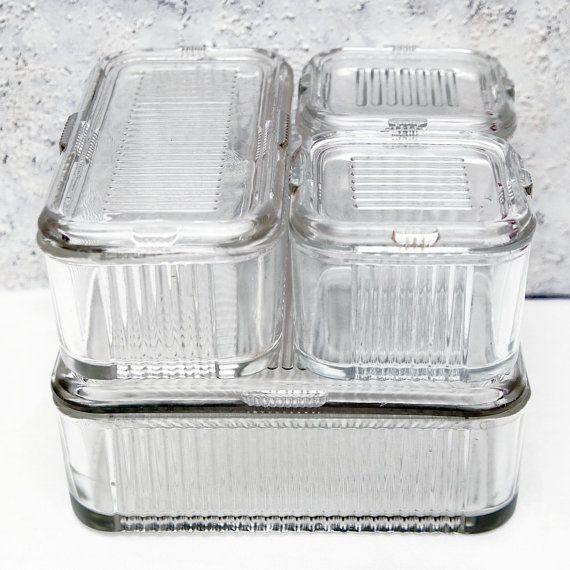 RESERVED SALE 4 Piece Ribbed Glass Refrigerator Storage Containers