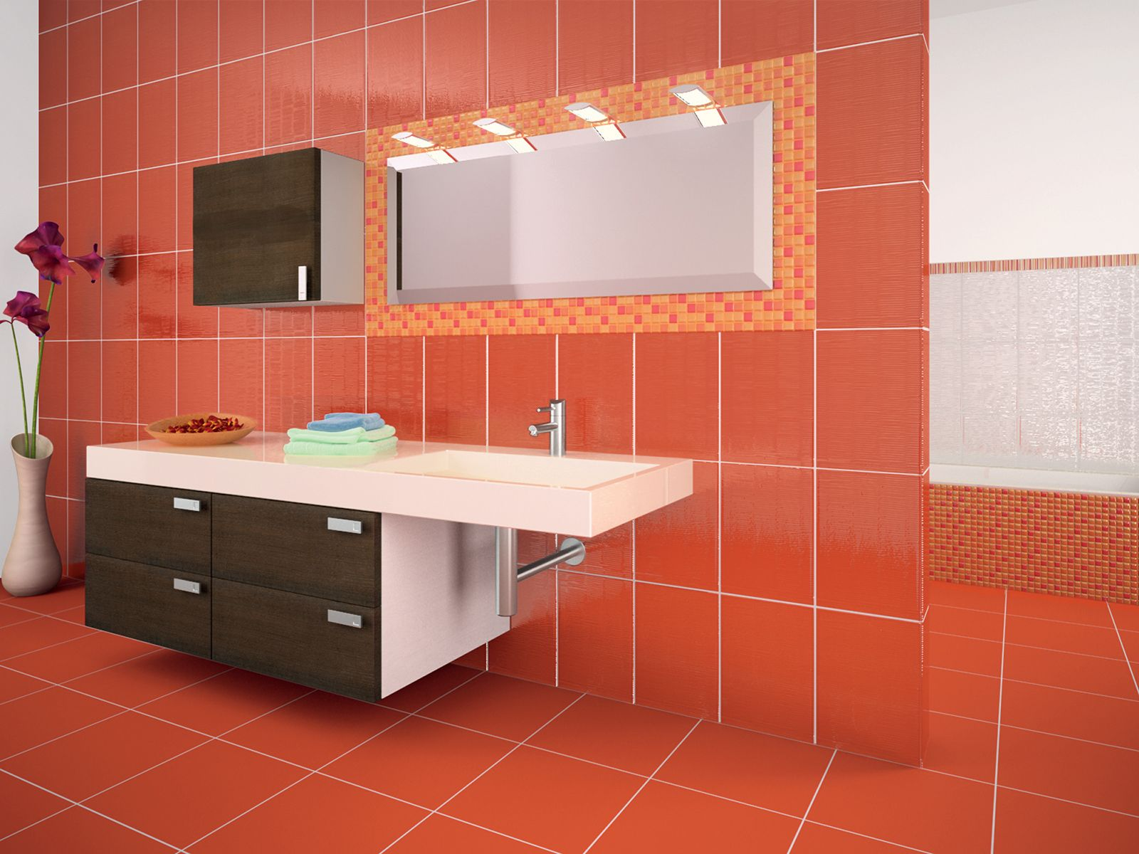 no 1472 matching wall and floor tiles create a stunning