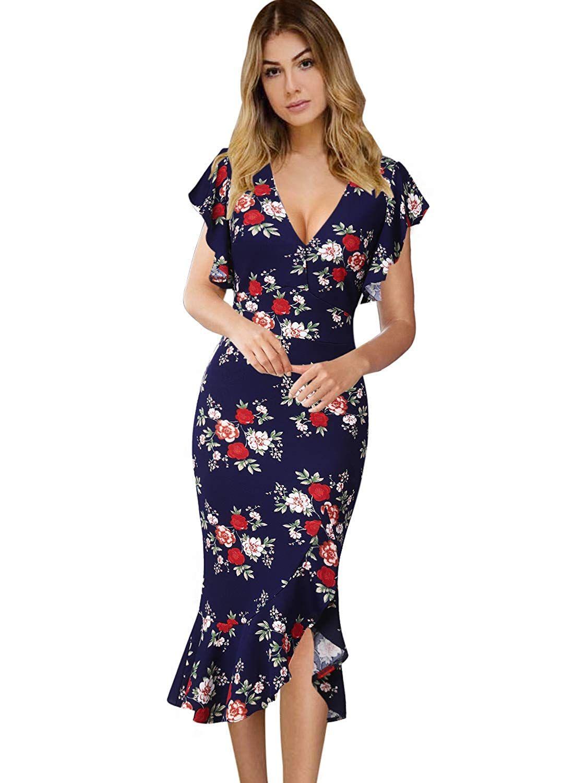 5446e2a9a3a VFSHOW Womens Elegant Ruffles Cocktail Party Mermaid Wiggle Midi Dress