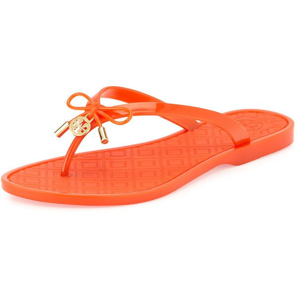 c0e46be027648 Tory Burch Jelly Bow Logo-Charm Thong Sandal (€60) ❤ liked on Polyvore  featuring shoes