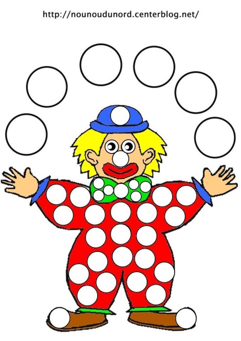 Coloriage le clown à gommettes et en couleur | Coloriage clown, Coloriage carnaval et Coloriage