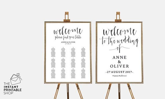 Seating Chart Template Wedding Welcome Sign Printable Wedding