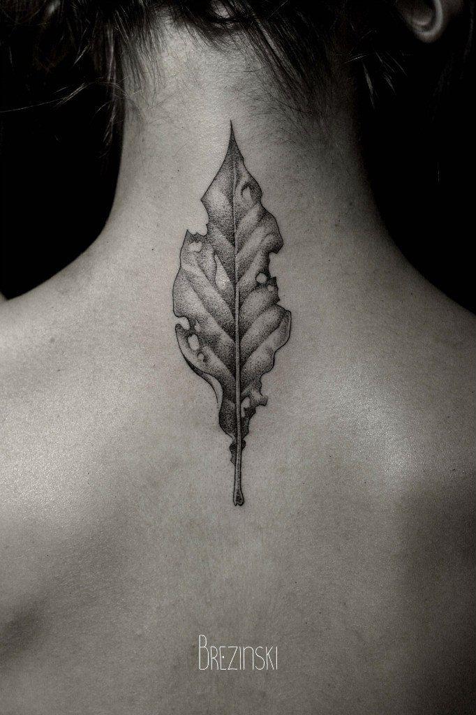 Finely Worked Dead Leaf On The Neck By Ilya Brezinski Tattoos - Surreal black ink tattoos by ilya brezinski
