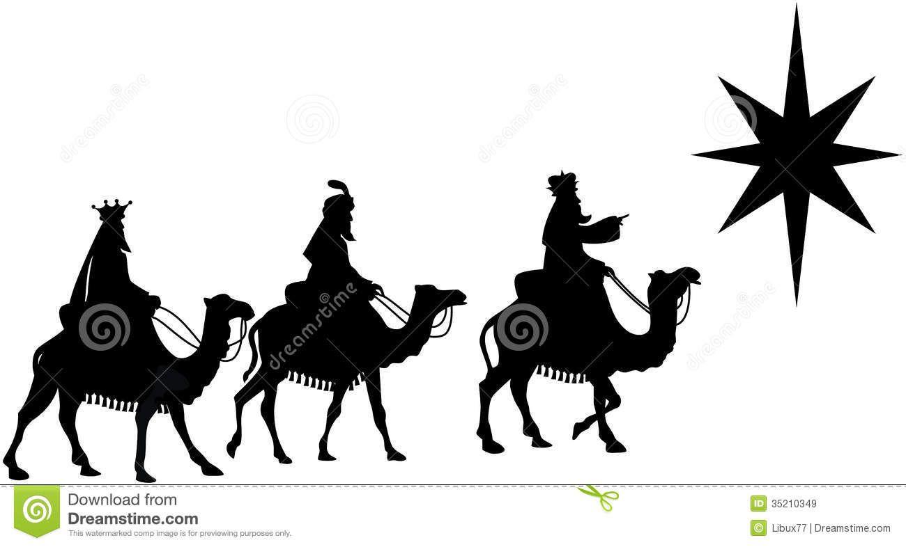 Tres Hombres Sabios En Silueta De La Parte Posterior Del Camello ...