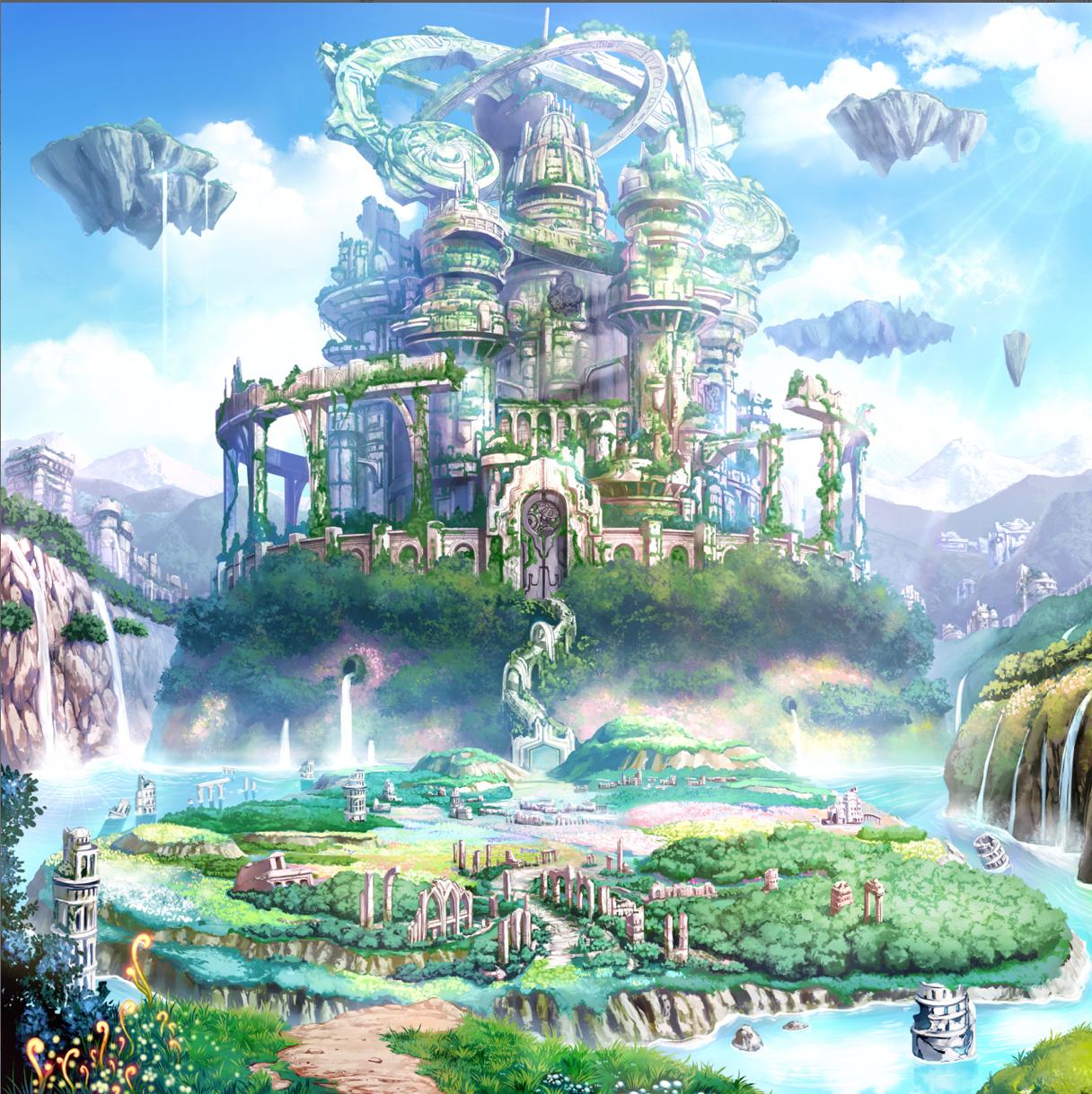 Background Paisagem Fantasia Cenario Anime Cidade De Fantasia