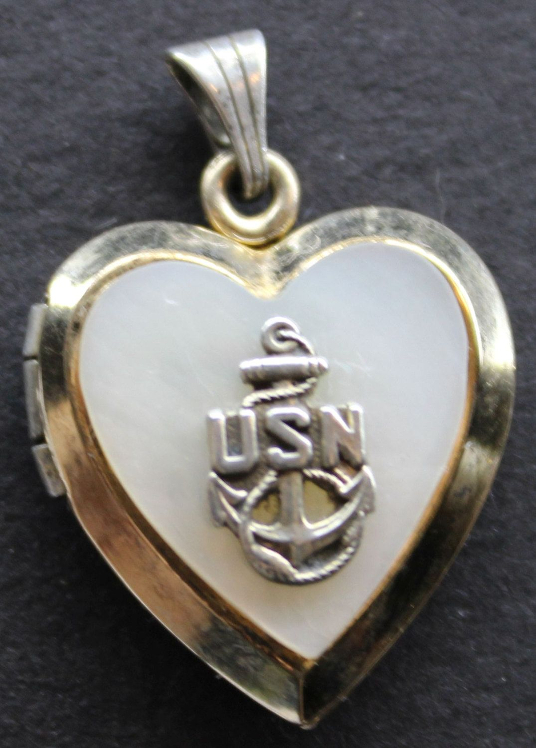 Women's Vintage Usn Us Heart Locket With Mother Of Pearl 18k Gold Over  925 Sterling Silver
