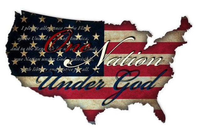 One Nation Usa Custom Shape Retro Metal Sign 25 X 16