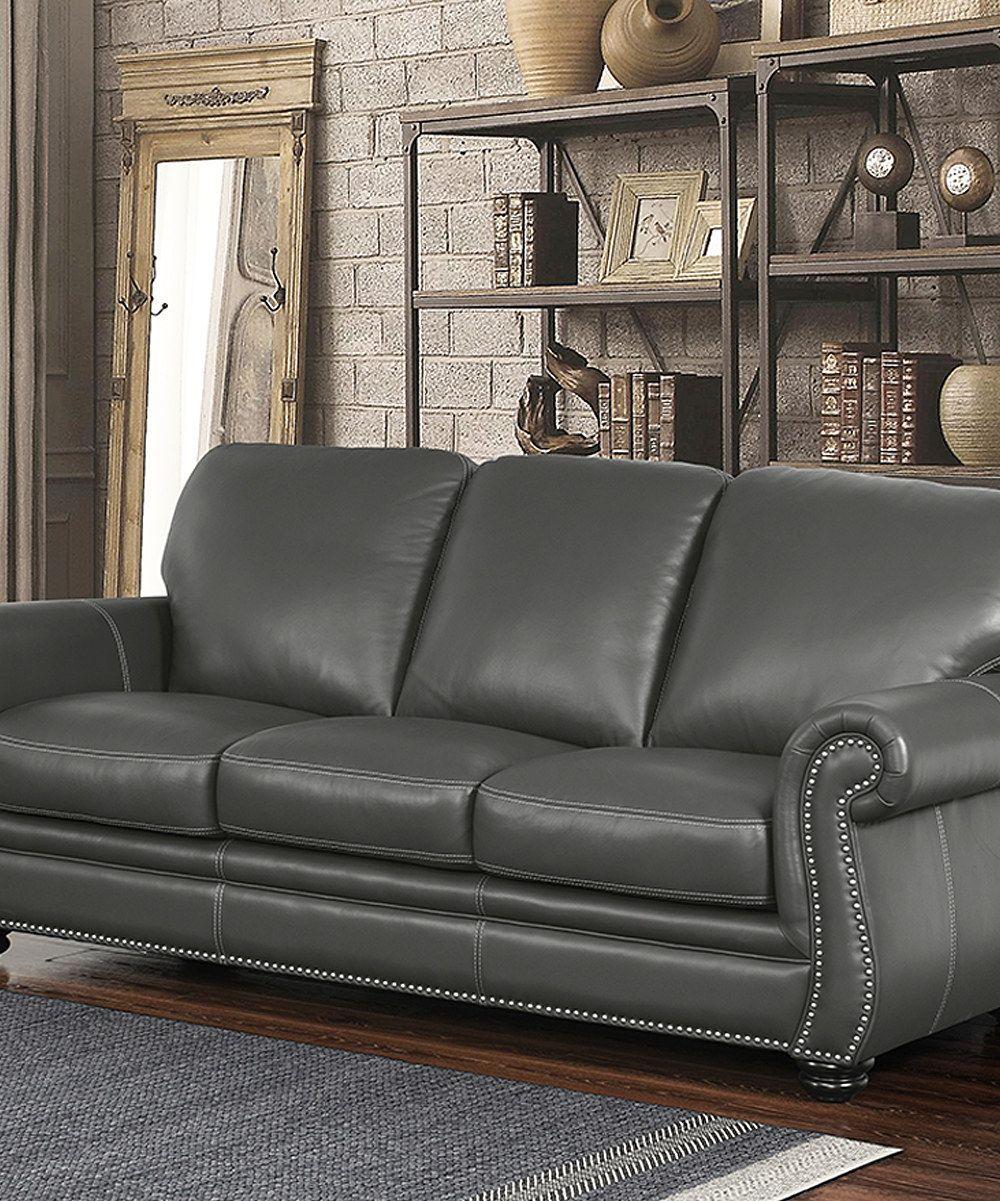 Nailheadtrim leather sofa zulily home decorating pinterest