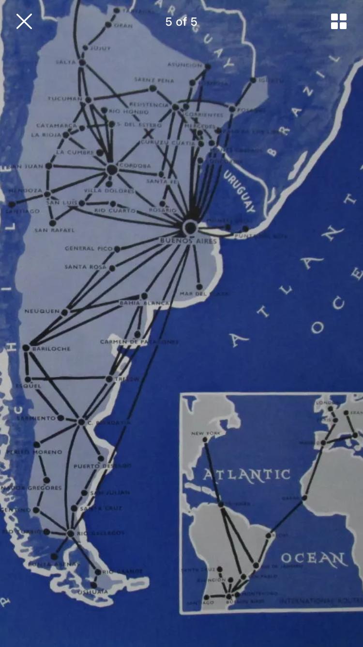 aerolineas argentinas route map Aerolineas Argentinas Route Map 1961 Boletos De Avion Boletos aerolineas argentinas route map