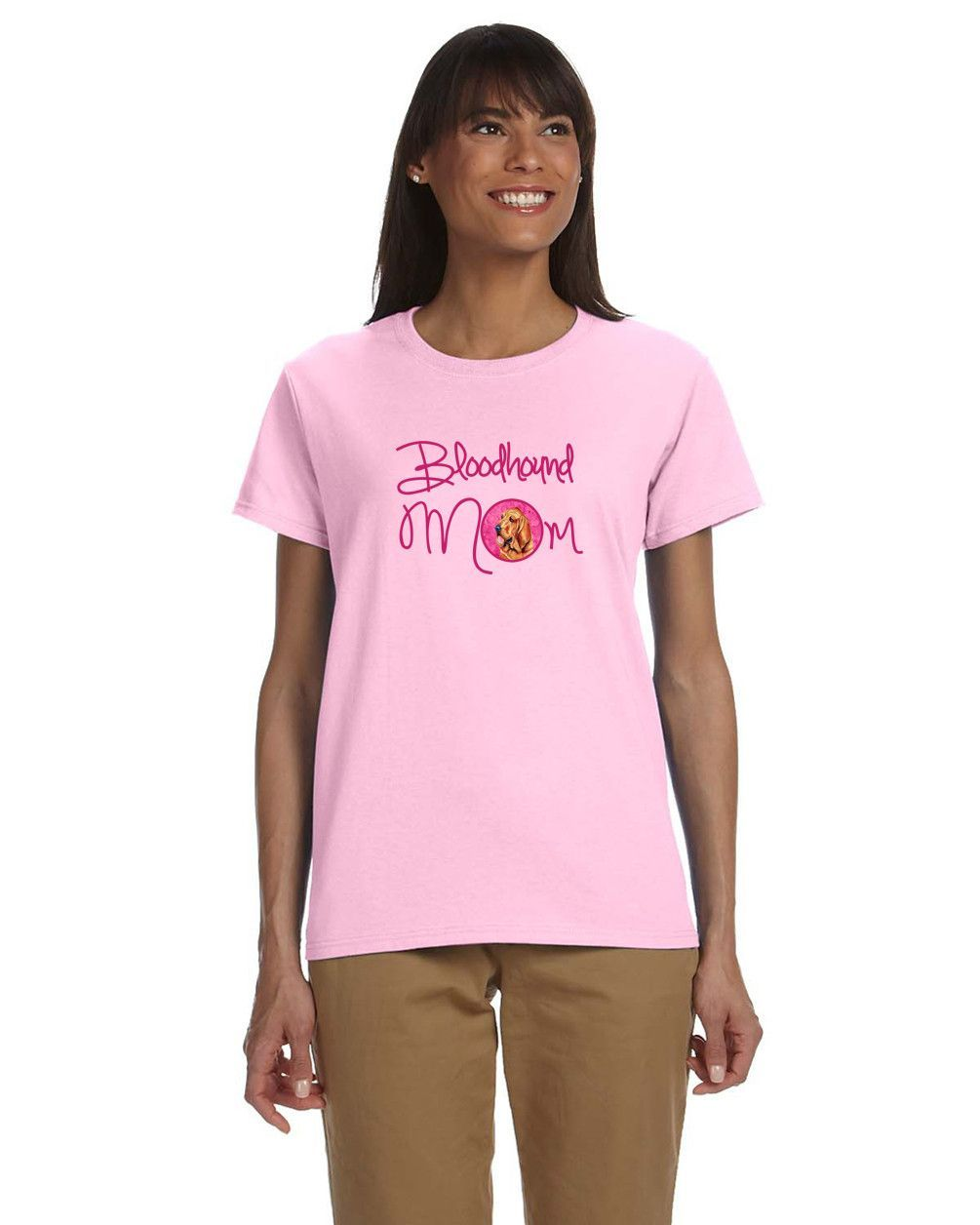 Pink Bloodhound Mom T-shirt Ladies Cut Short Sleeve Large LH9376PK-978-L