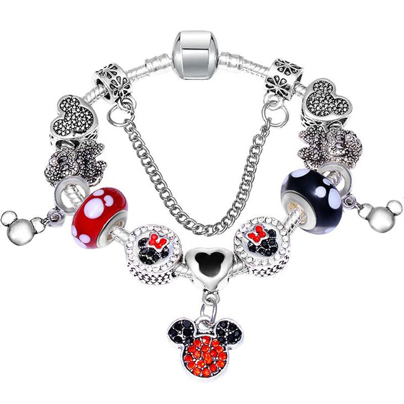 c44ba6c37 BAOPON Dropshipping Catoon Style Mickey Pendant Charm Bracelet With Murano  Glass Beads Fine Bracelets for Child DIY Gift Review