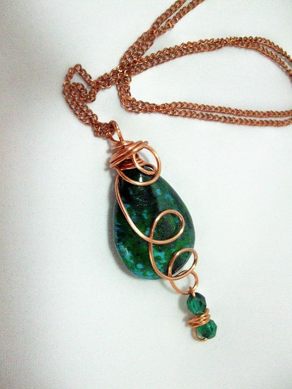 Necklace with Wirewrapped Pendant Chrysocolla by WireWrapper, $19.95