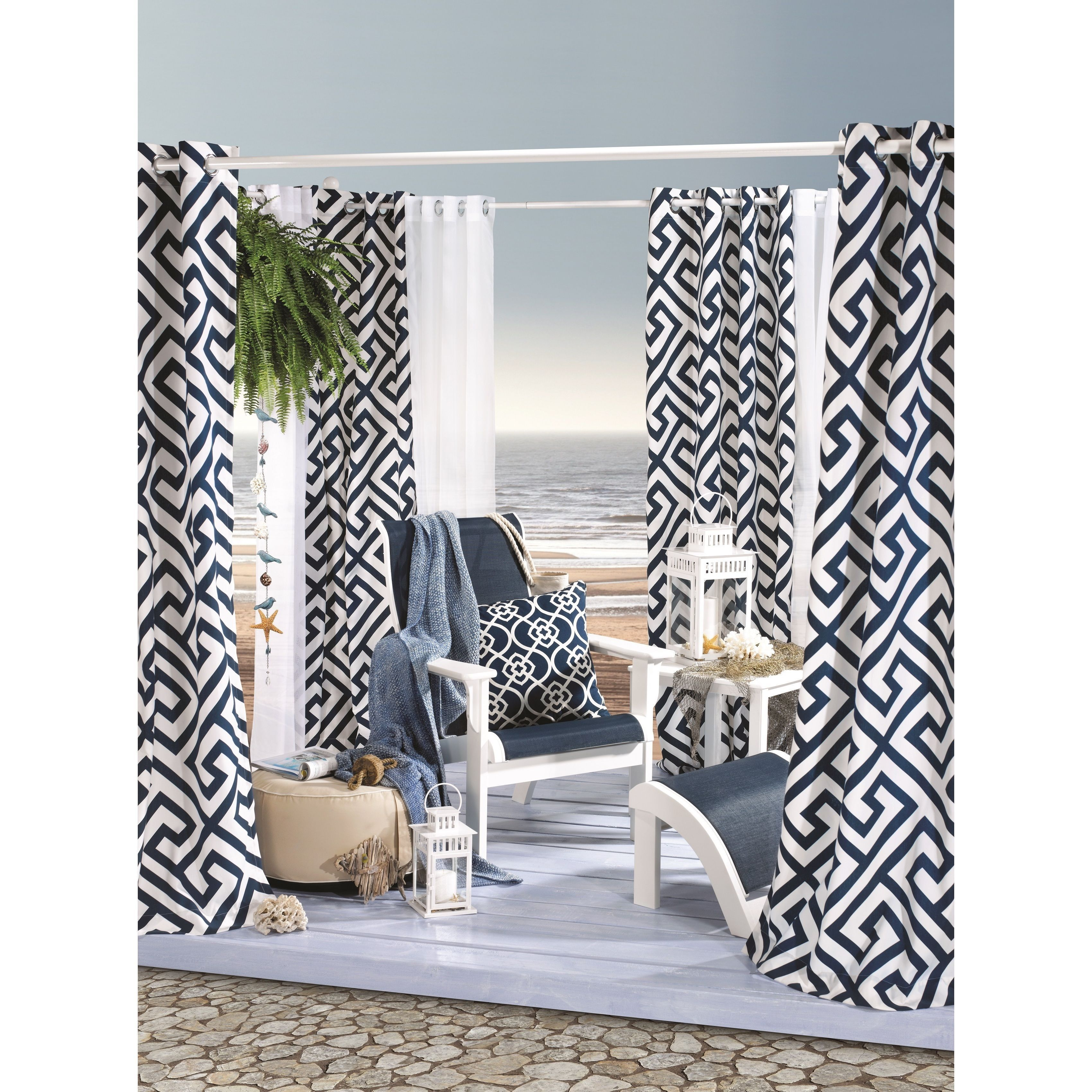 Dark blue and white curtains - Greek Key Indoor And Outdoor Print Curtain Panel Greek Key 50x108 Deep Navy