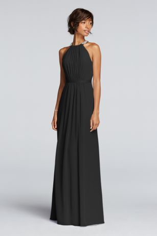 3be10be7089 A keyhole back and ribbon waistband finish the look. Wonder by Jenny  Packham- Exclusively at David s Bridal. Long sheer chiffon dress with  cutaway ...