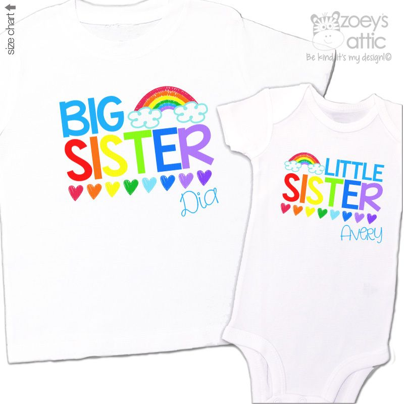 Girl sister Rainbow baby Rainbow little sister shirt Matching sister shirt little sister shirt New sister shirt Rainbow sister