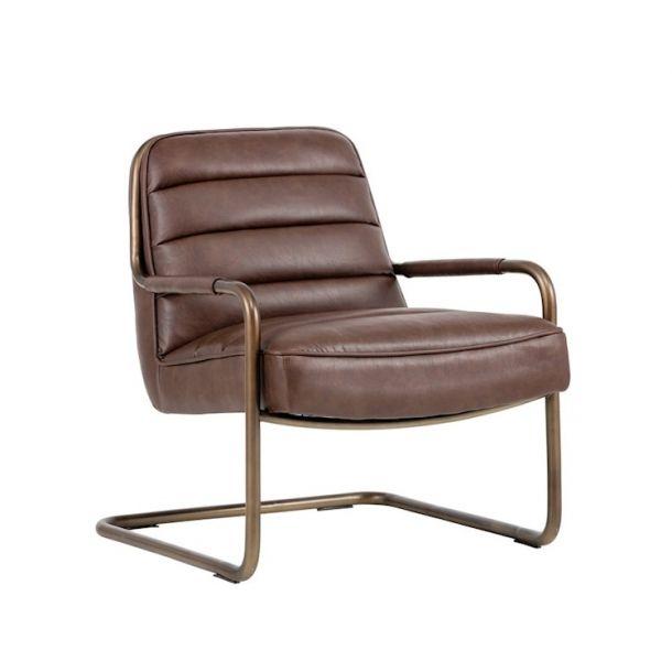 Best Lincoln Lounge Chair Faux Leather Vintage Cognac 400 x 300