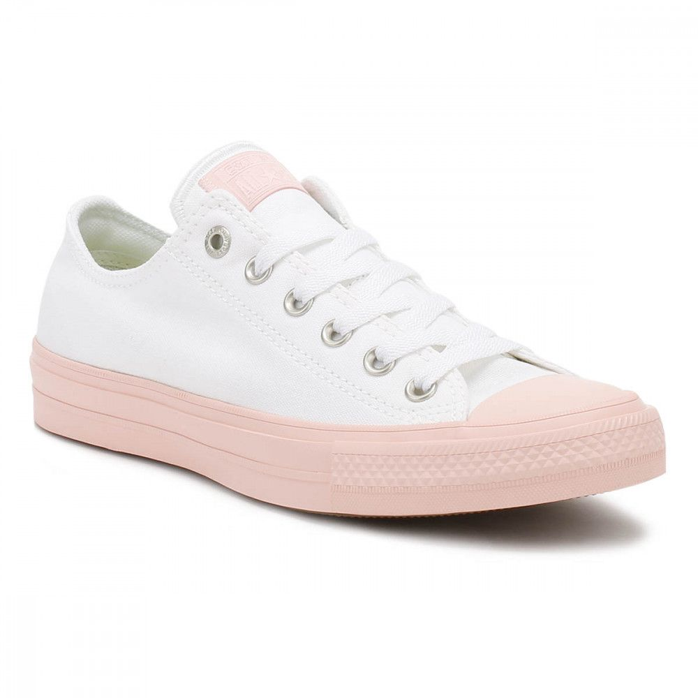 cc9df16d410648 Converse All Star Chuck Taylor II Womens Ox White Vapour Pink Trainers