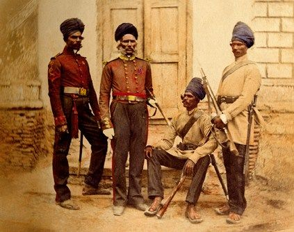 Madras sappers and miners who assisted the British force at Lucknow, photograph dating to circa 1857.