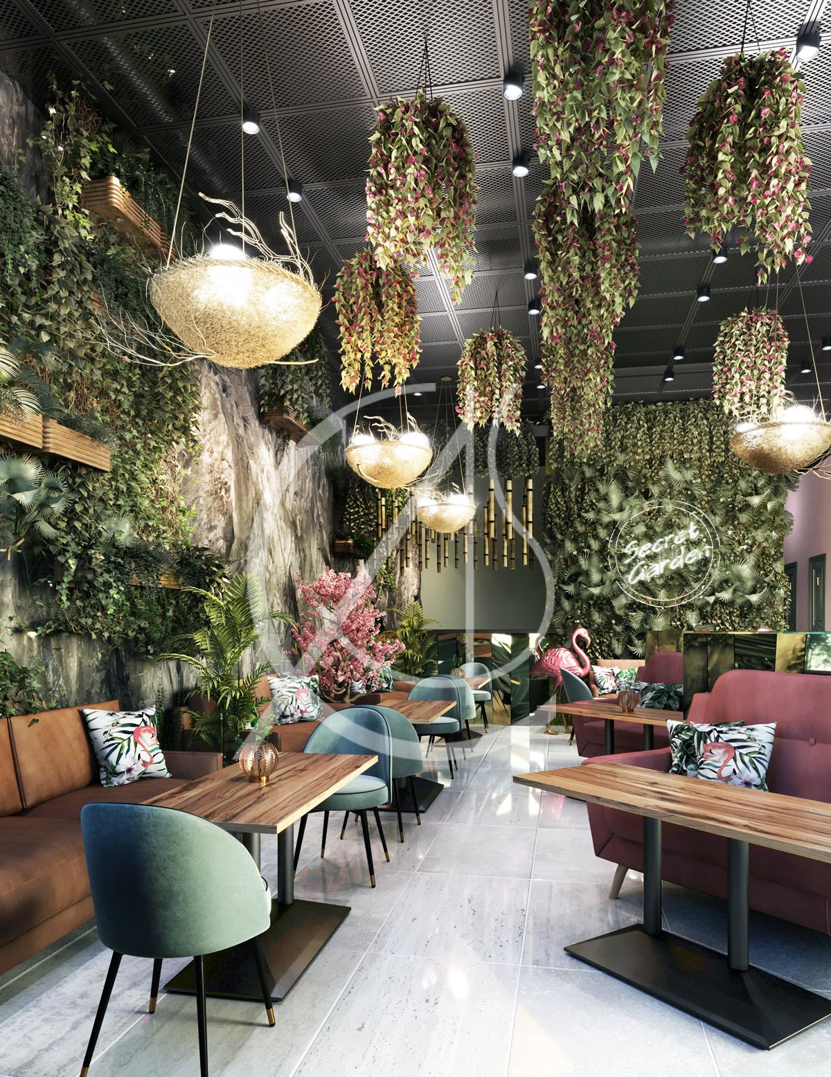 Secret Garden Theme Restaurant Design Khobar Saudi Araiba Cas In 2020 Secret Garden Theme Restaurant Design Modern Restaurant Design