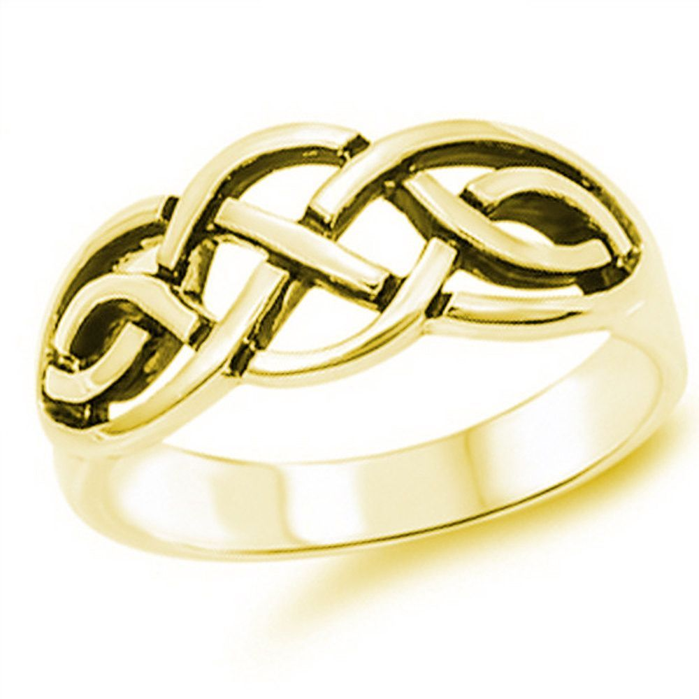 Yellow Gold Celtic Ring 925 Sterling Silver Plain Simple Men Women