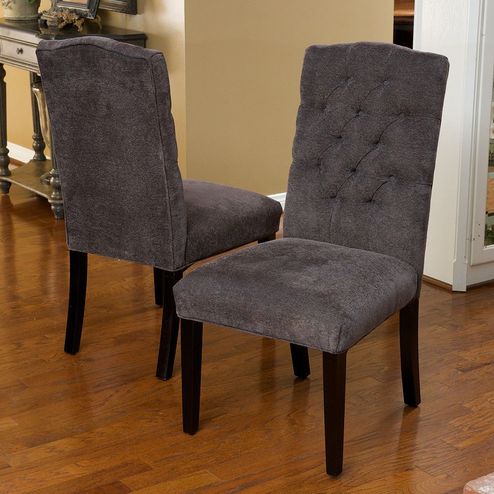 Black fabric dining chairs - Set Of 8 Elegant Gray Linen Upholstered Parsons Dining Chairs W Tufted Back Ebay