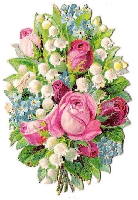 Rosen Mit Frühlingsblumen Flower Artwork Vintage