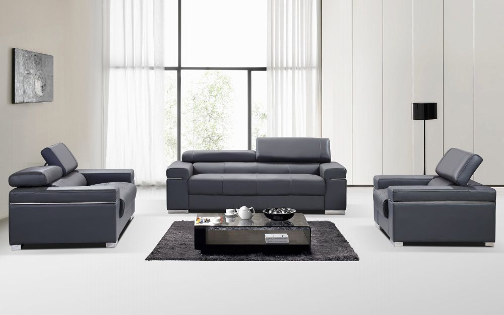 Contemporary grey Italian leather sofa set with adjustable headrest ...