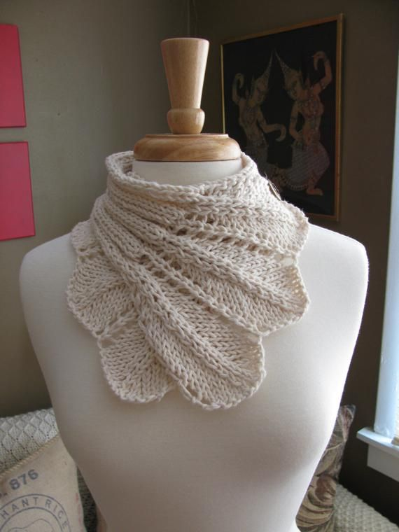 Feather Lace Buttoned Wrap Cowl pattern--PDF | Knitting ...