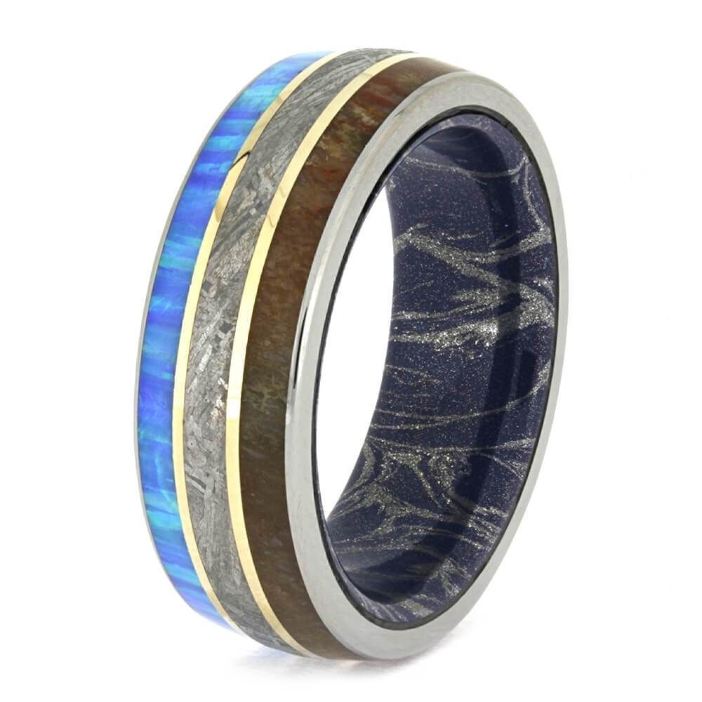 Meteorite And Fossil Ring With Mokume Sleeve And Yellow