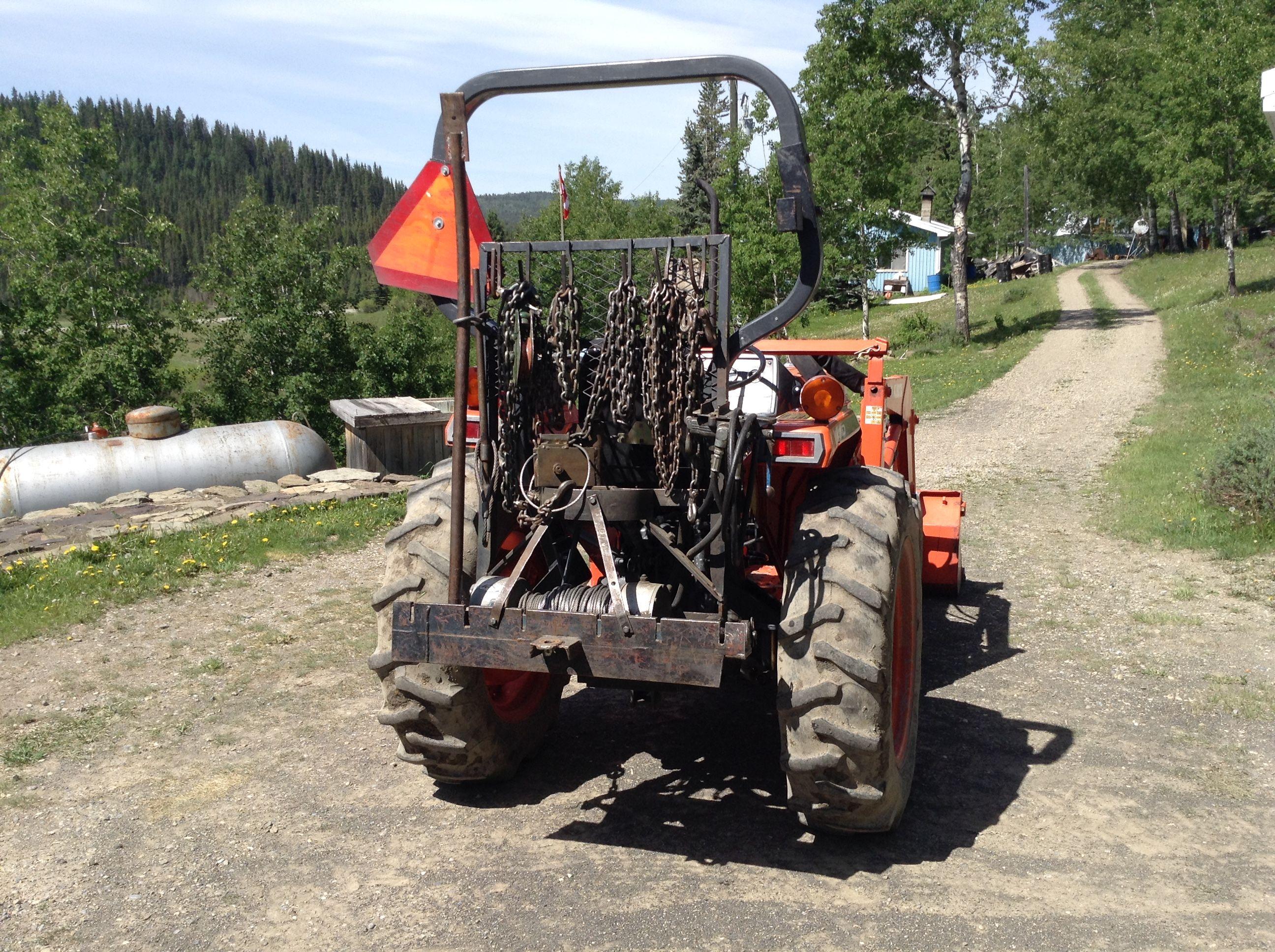 My 3 Point Hitch Hydraulic Logging Winch On L2500 Kubota Tractor