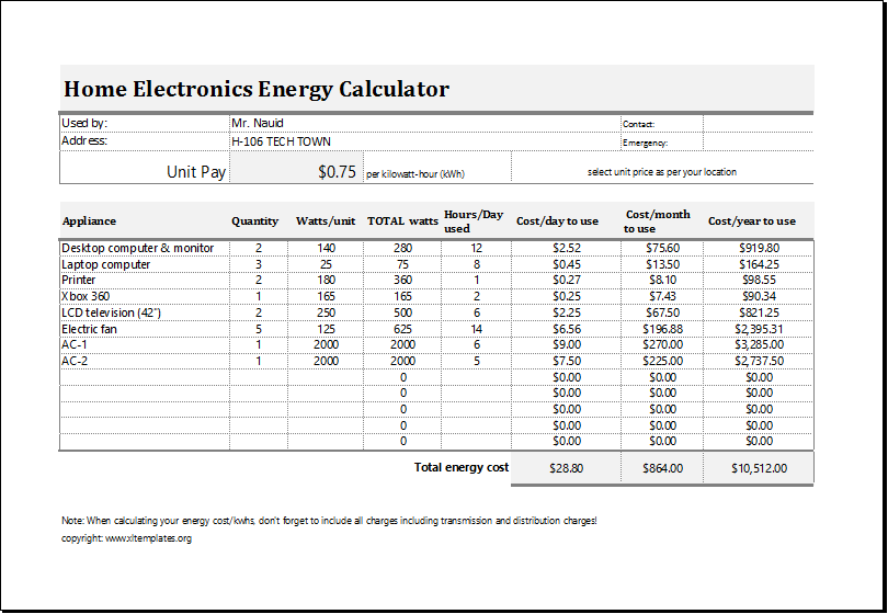 Electric Energy Cost Calculator Download At HttpWwwXltemplates
