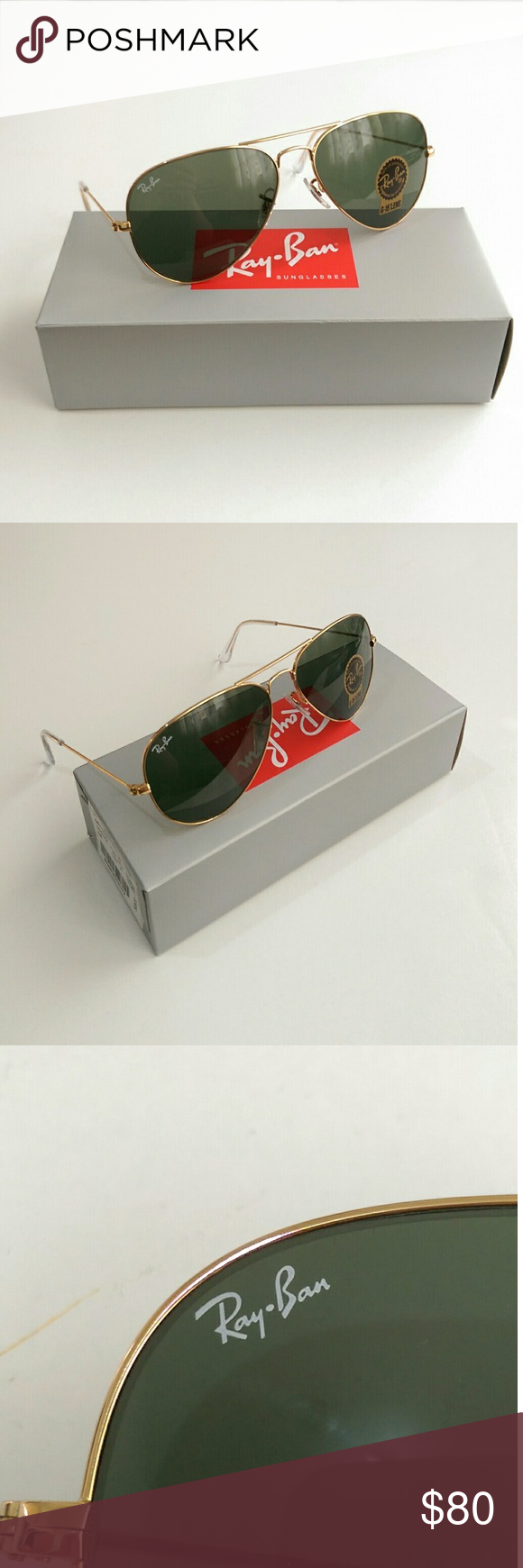 Green Ray Ban Aviator New In Box Comes With Everything Shown On The Last Picture Barcode Serial Number Is L0205 Temple 58mm Gold Frame 100