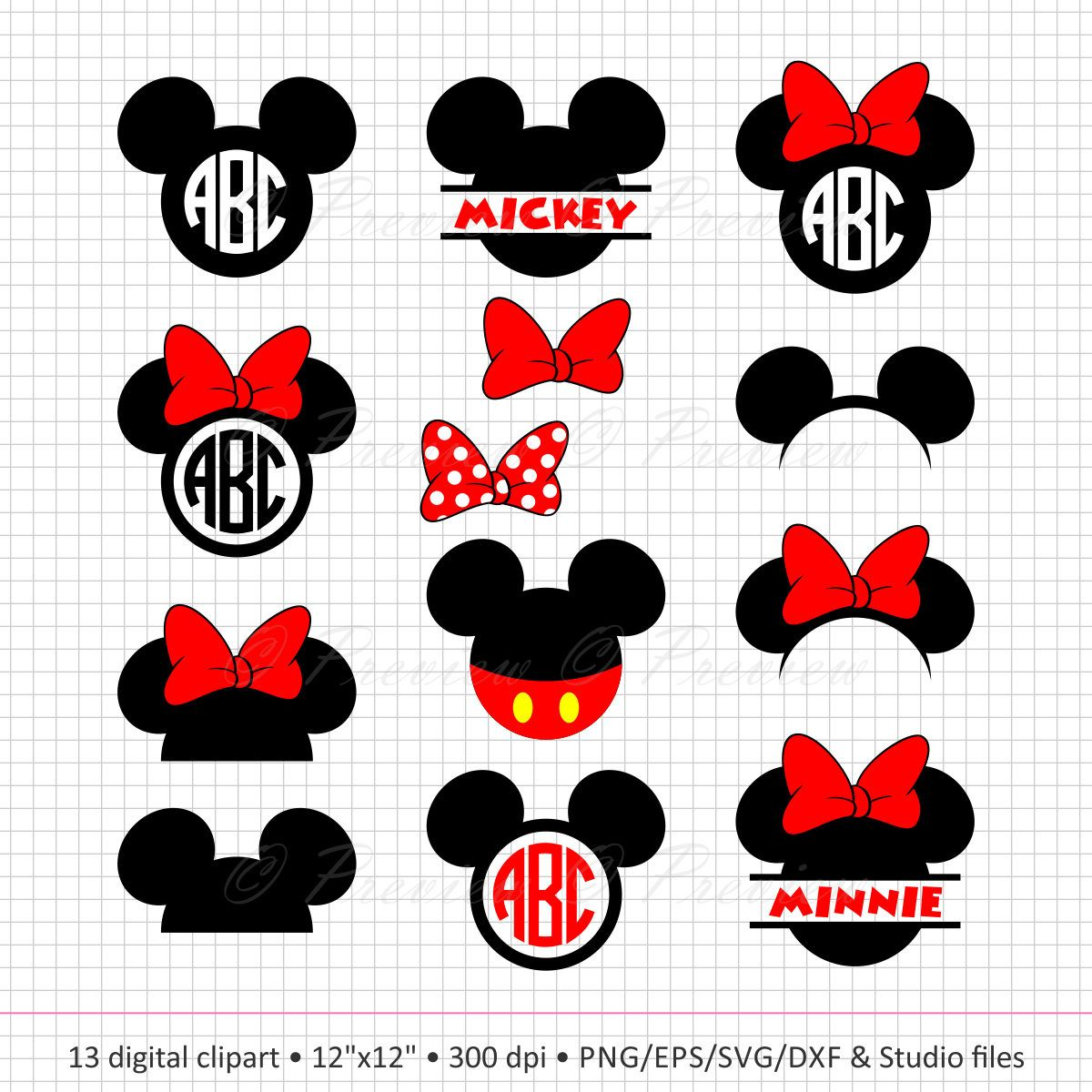 Buy 2 Get 1 Free! Digital Clipart Mickey Mouse Head