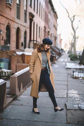 7edf0cc609 coat tumblr camel camel coat denim jeans blue jeans belt top stripes  striped top hat black hat beret shoes black shoes mid heel pumps fall  outfits