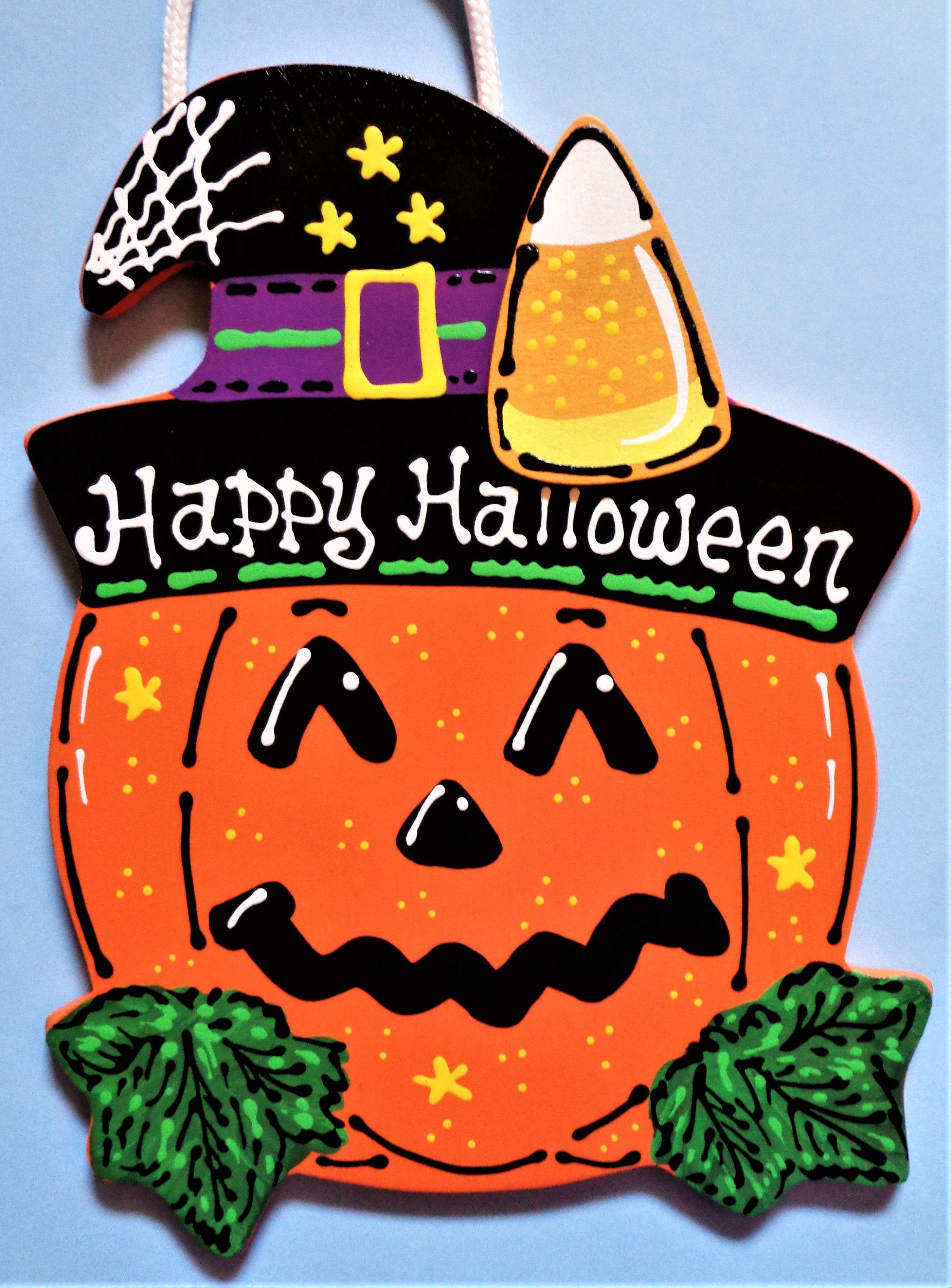 HAPPY HALLOWEEN PUMPKIN Sign Candy Corn Holiday Fall