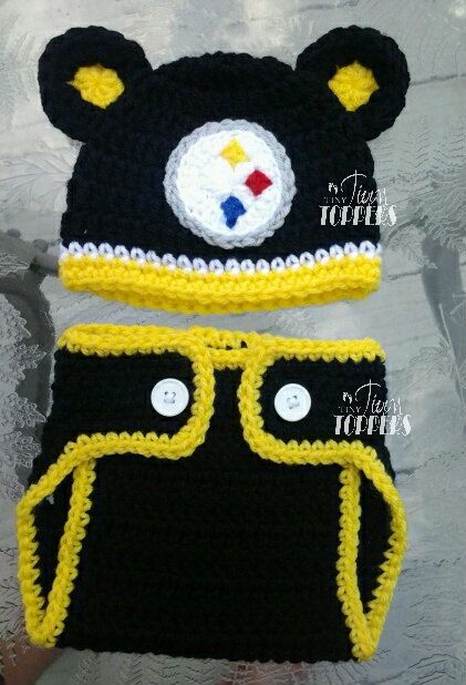 Crocheted Pittsburgh Steelers Hat and diaper by TinyTippyToppers ... 2b6d47d42