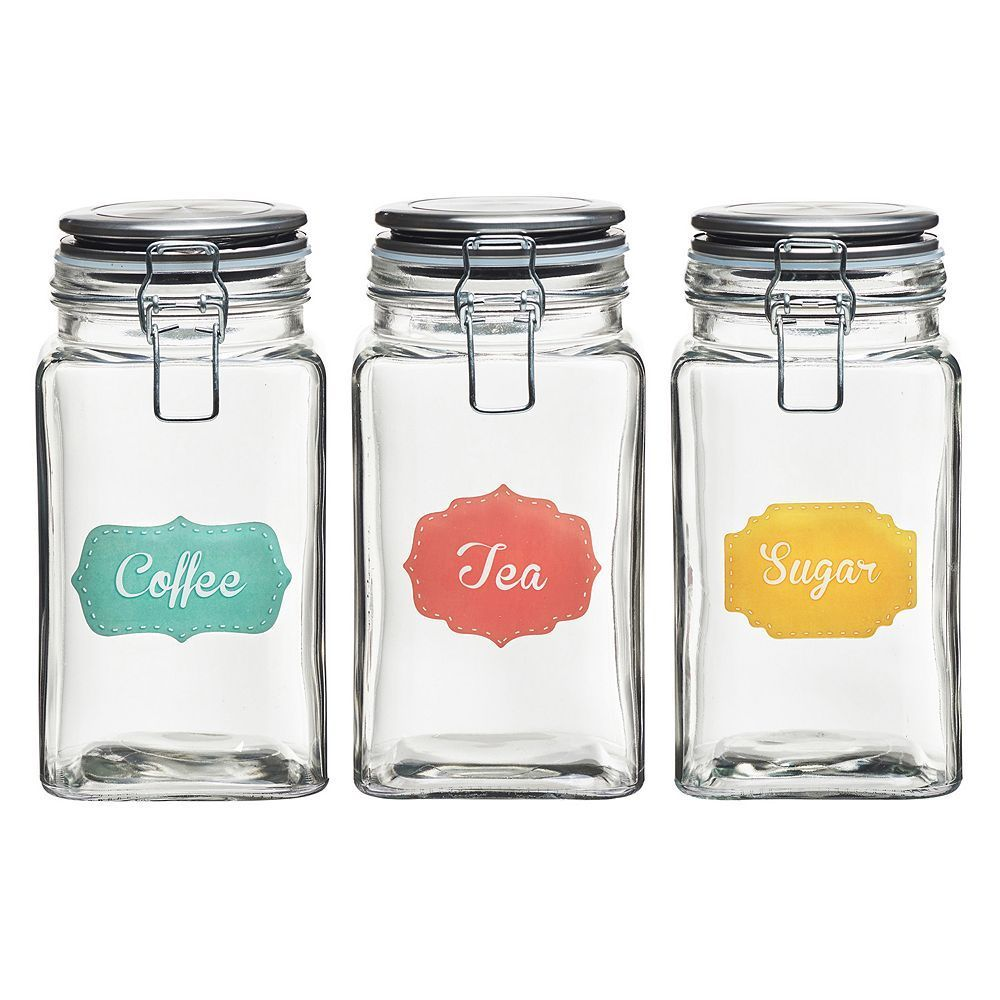 Global Amici Rise Shine 3 Pc Hermetic Glass Storage Jar Set With Images Coffee Canister Glass Storage Jars Preserving Jar