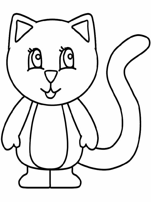 A Simple Drawing Of Kitty Cat In Standing Posture Coloring Page Kids Play Color Easy Drawings Cat Drawing For Kid Easy Drawings For Kids