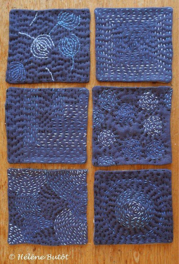"Helene Butot""s sampler squares of long stitch."